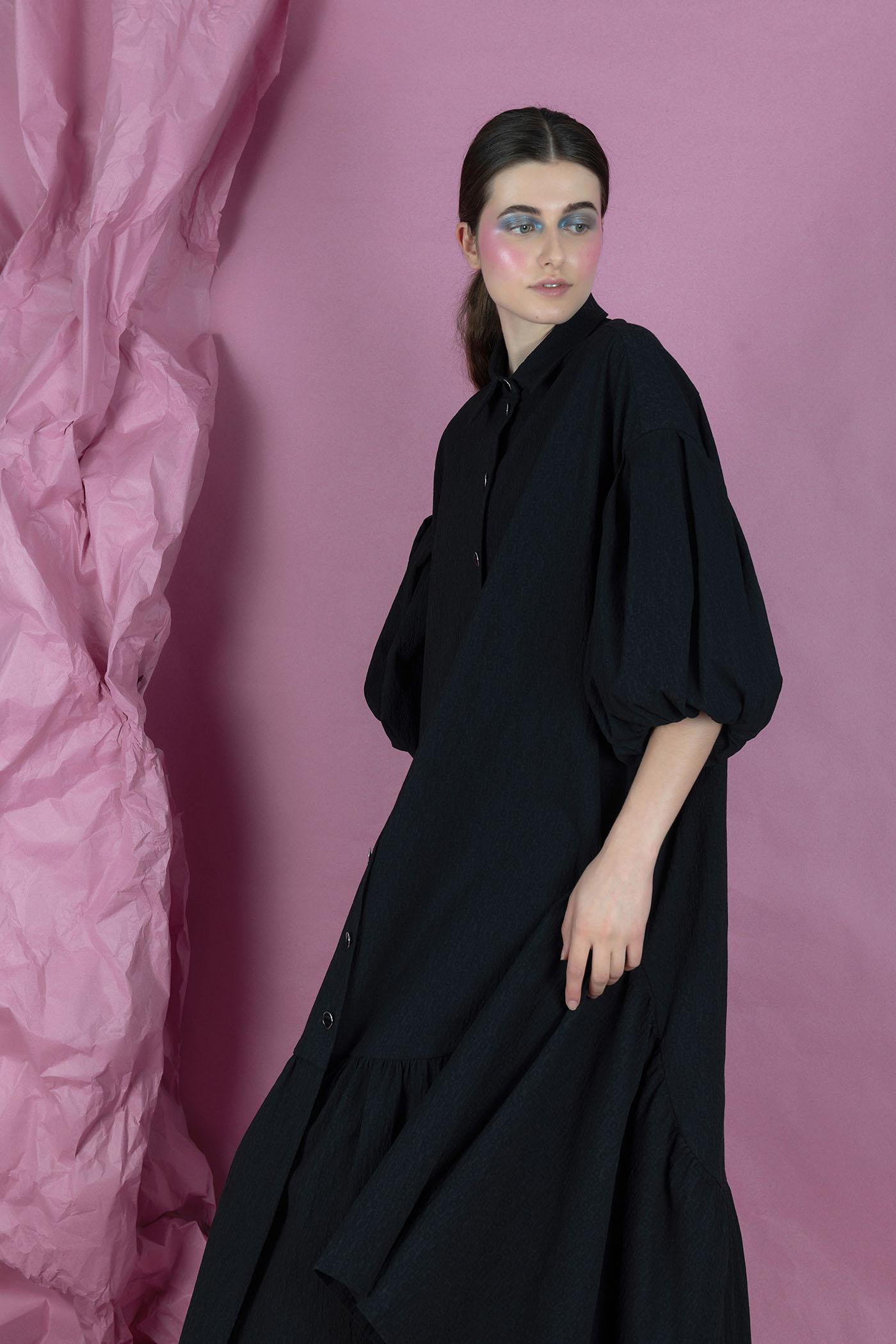 Black Shirt Dress Nopin